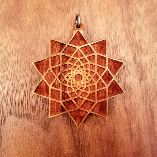 Ten Sided Star Fractal in Cherry wood