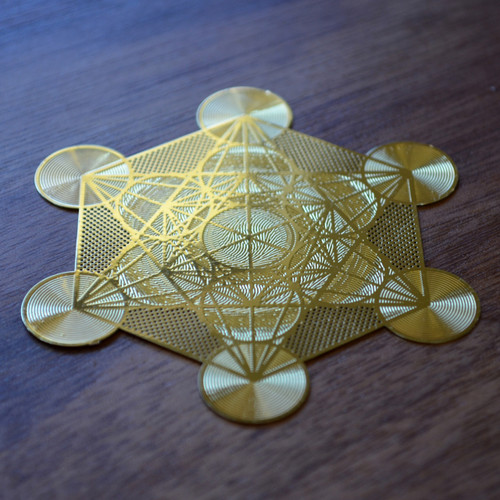 Metatrons Cube - 18 karat Gold Plated Crystal Grid - 2.8""