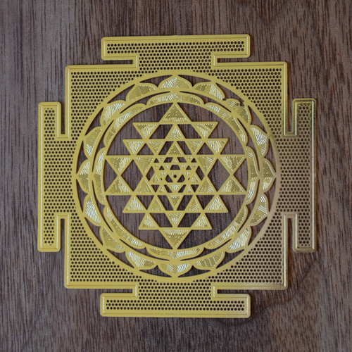 Sri Yantra- 18 Karat Gold Plated Crystal Grid - 2.8""