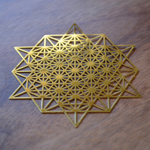 "64 Sided Tetrahedron - 18 karat Gold Plated Crystal Grid - 2.8"""