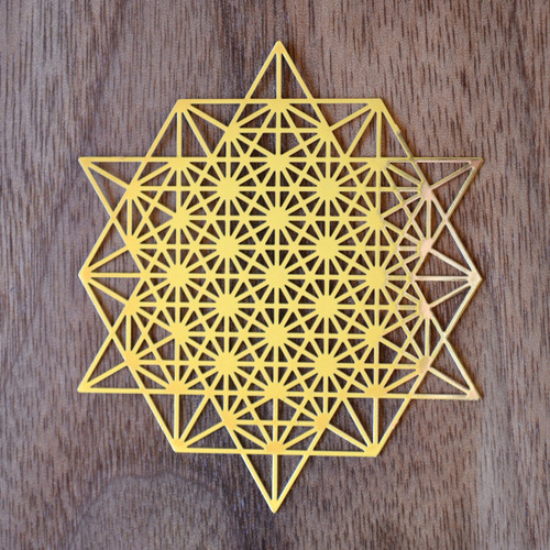 64 Sided Tetrahedron - 18 karat Gold Plated Crystal Grid - 2.8""