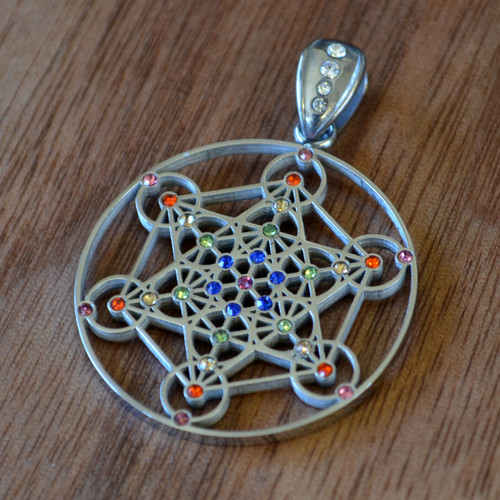 Metatrons Cube - Silver Plated Pendant with Rainbow Gemstones