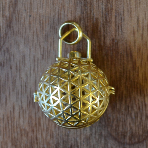 Flower of Life Sphere - Gold Plated Aromatherapy Pendant