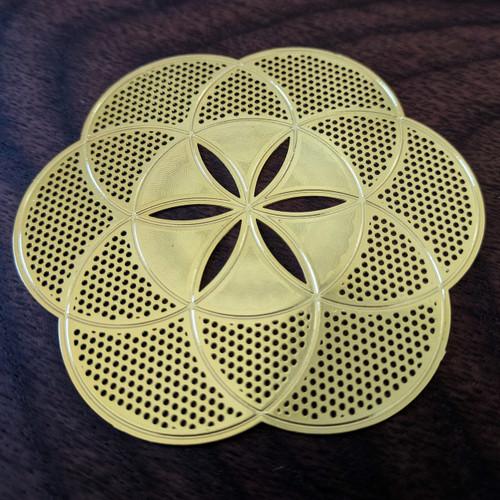 "Seed of Life - 18 Karat Gold Plated Crystal Grid - 2.8"""