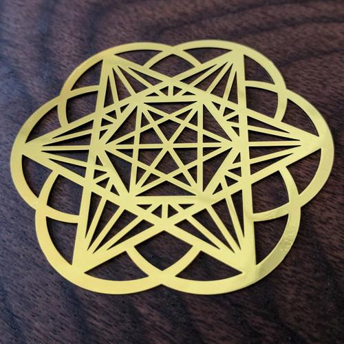 "Starseed - 18 Karat Gold Plated Crystal Grid - 2.8"""