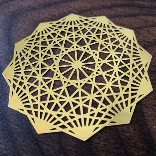 Dodecahedron - 18 Karat Gold Plated Crystal Grid - 2.8""
