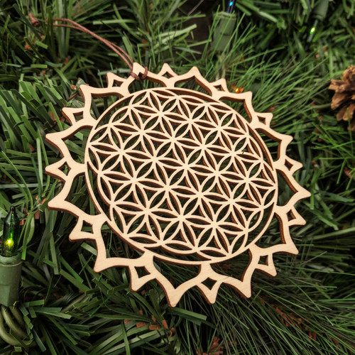 Flower of Life Mandala Ornament - Sacred Geometry - Laser Cut Wood