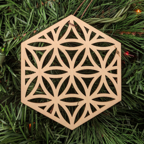 Flower of Life Hexagon Ornament - Sacred Geometry - Laser Cut Wood