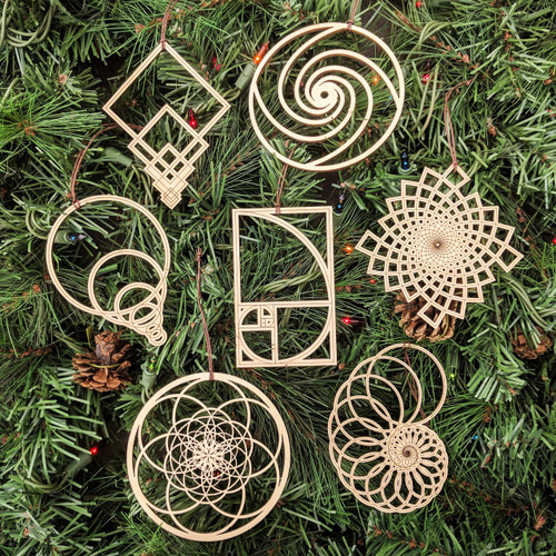 Fibonacci Holiday Ornaments - Set of Seven - Laser Cut Wood