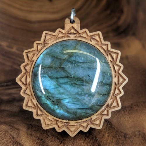 Triangle Mandala 30mm Hardwood Pendant in Cherry with Labradorite