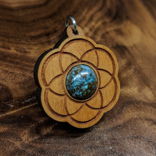 Seed of Life Hardwood Pendant in Cherry with Chrysocolla