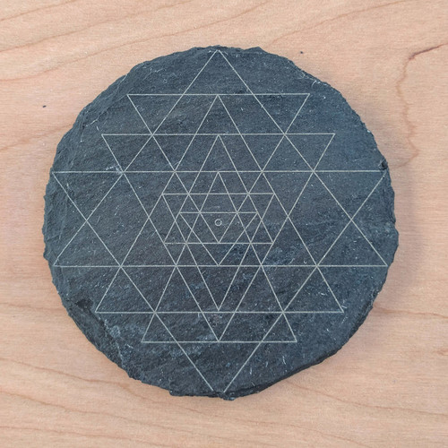 Sri Yantra Laser Etched Slate Coaster - Circle