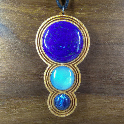 Lapis, White Moonstone, Sodalite on Cherry Hardwood