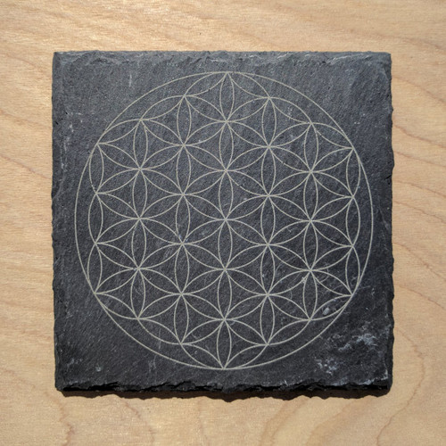 Flower of Life Laser Etched Slate Coaster - Square