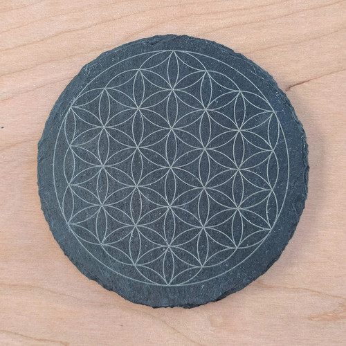 Flower of Life Laser Etched Slate Coaster - Circle