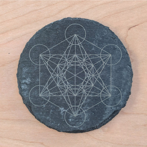 Metatron's Cube Laser Etched Slate Coaster - Circle