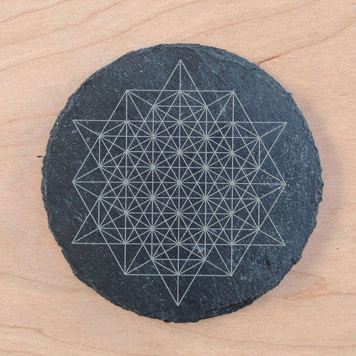 64 Sided Tetrahedron Etched Slate Coaster - Circle