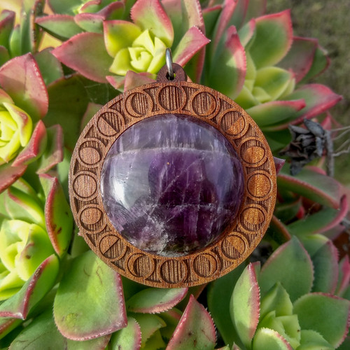 'Moon Phases' Hardwood 30mm Gemstone Pendant