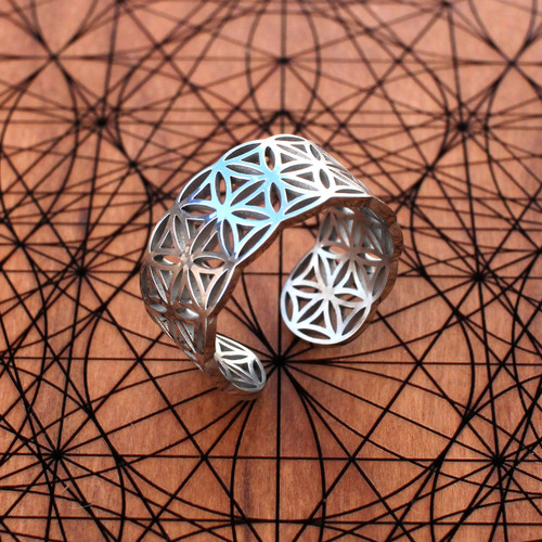 Flower of Life Adjustable Ring (18K Gold/Sterling Silver)