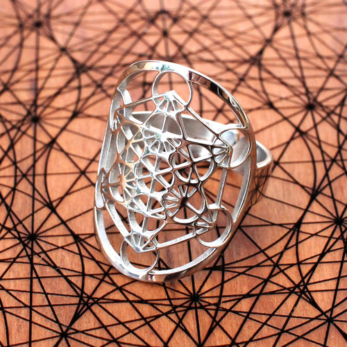 Metatron's Cube Adjustable Ring (18K Gold/Sterling Silver)