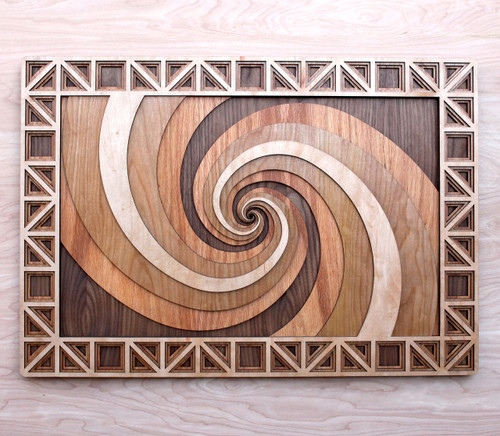 Carved Red Oak 3D Spiral Wall Decor