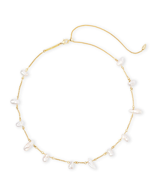 KRISSA NECKLACE GOLD BAROQUE PEARL