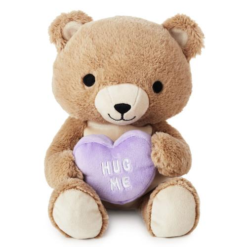 "Plush Bear With Purple ""Hug Me"" Heart"