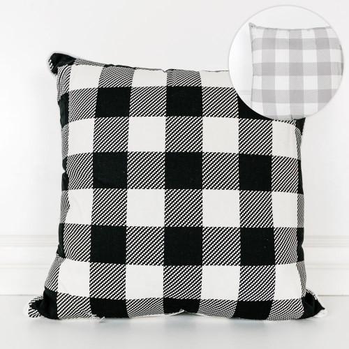 Check Pillow White/Grey/Black 20x20