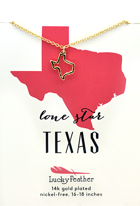 Texas state gold necklace