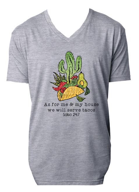Serve Tacos Grey V Neck Shirt