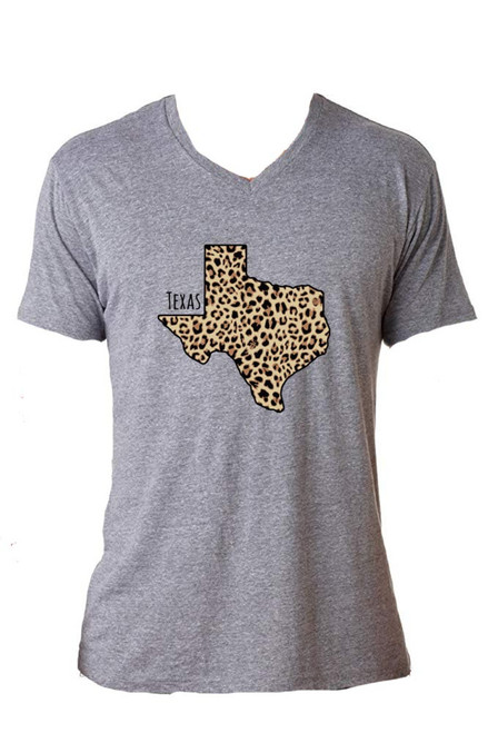 Texas Leopard Grey V Neck Shirt