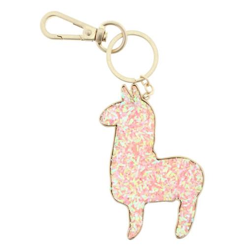 Confetti Pink Llama Keychain