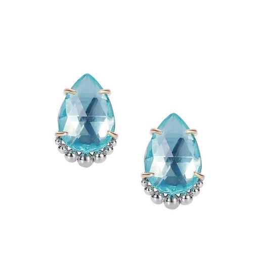 Teardrop Blue Topaz Stud Earring