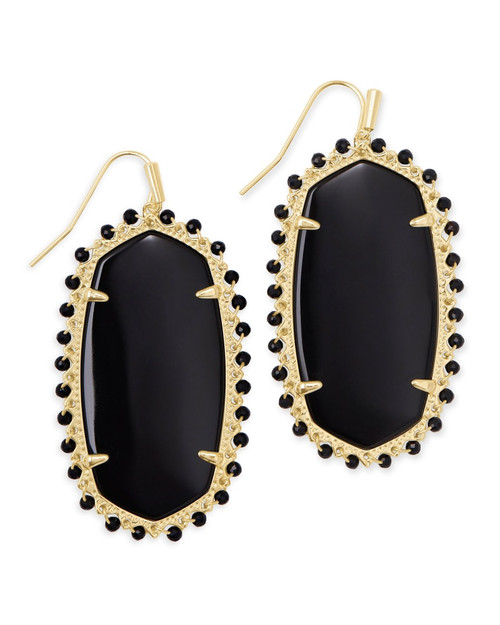 Beaded Danielle Statement Earring Gold Black Obsidian