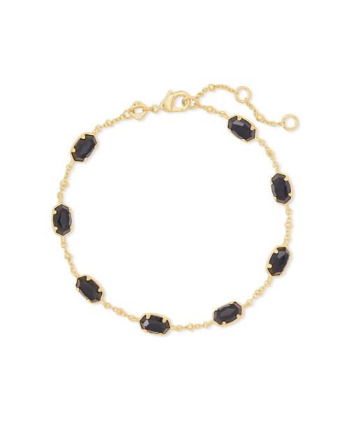 Emilie Link Bracelet Gold Black Obsidian