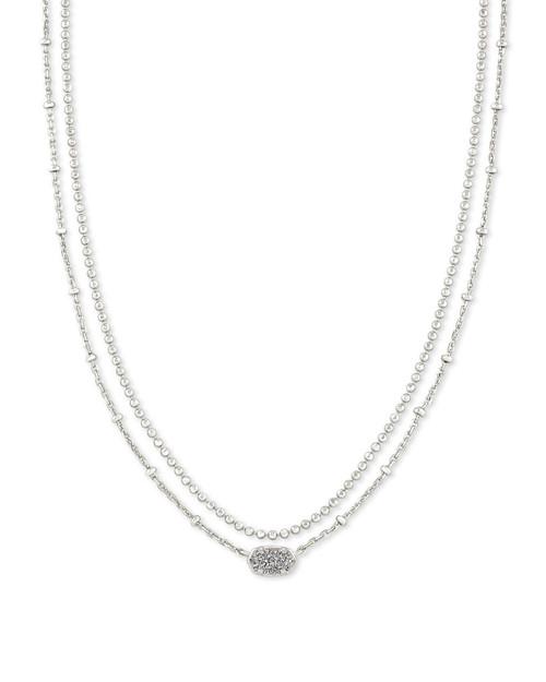 Emilie Multi Strand Necklace Silver Platinum