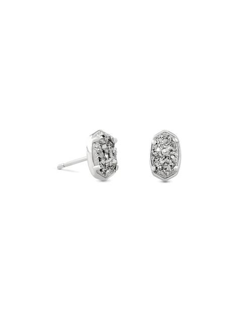 Emilie Stud Earrings Silver Platinum Drusy