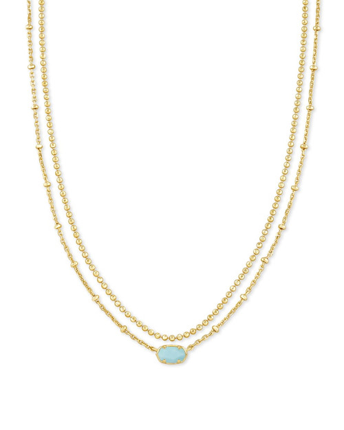 Emilie Multi Strand Gold Light Blue Necklace