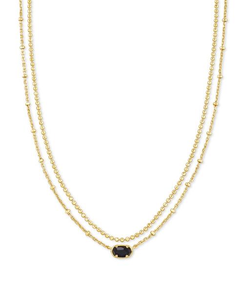 Emilie Multi Strand Gold Black Necklace