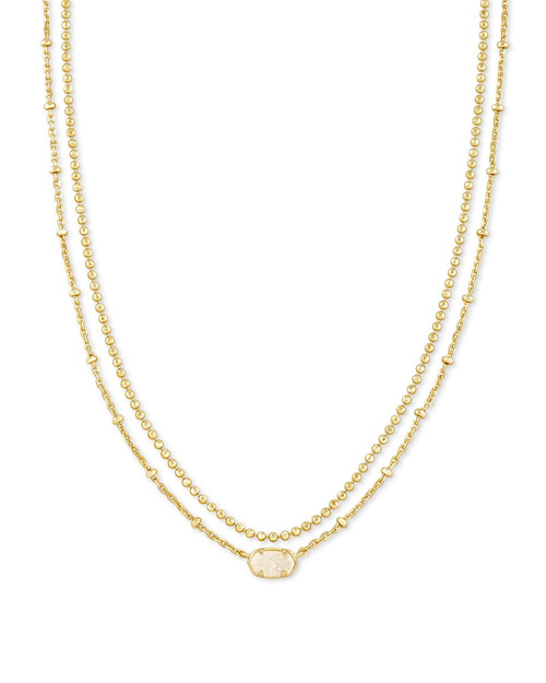 Emilie Multi Strand Gold Iridescent Drusy Necklace