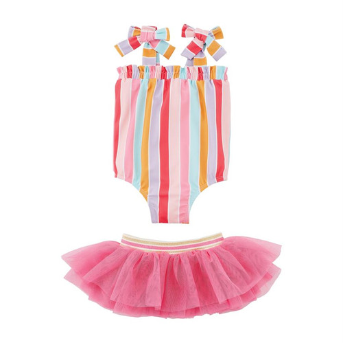 5T Stripe Swimsuit With Tutu