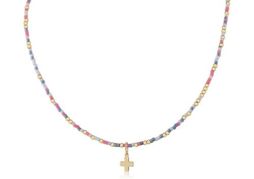 "Laffy Taffy 15"" Choker Gold Cross Necklace"