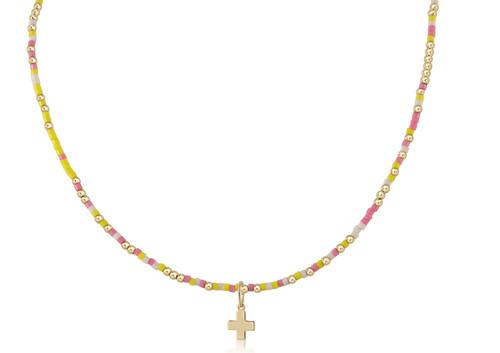 "Pink Lemonade 15"" Choker Gold Necklace"