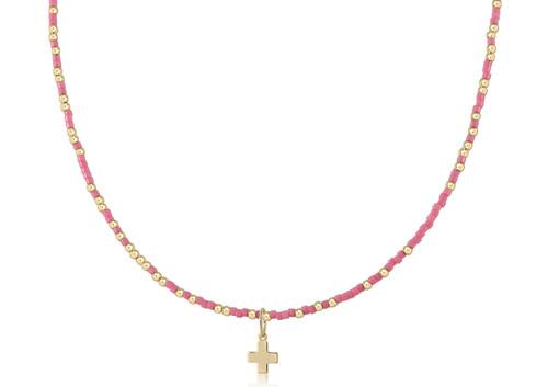 "Pink 15"" Choker Gold Cross Necklace"