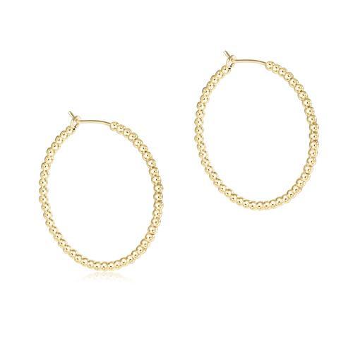 "Beaded Gold Hoop 2mm 1.25"" Earring"