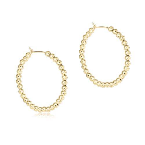 "Beaded Gold Hoop 3mm 1.75"" Earring"