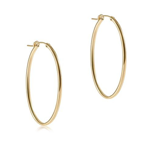 """Oval Gold 2"""" Hoop Smooth Earring"""