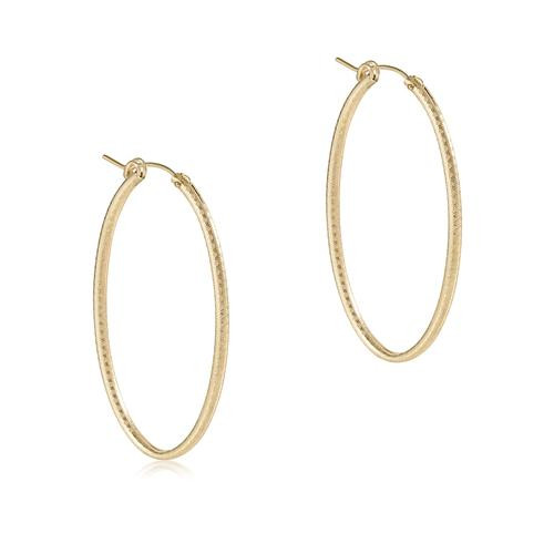 """Oval Gold 2"""" Hoop Textured Earring"""