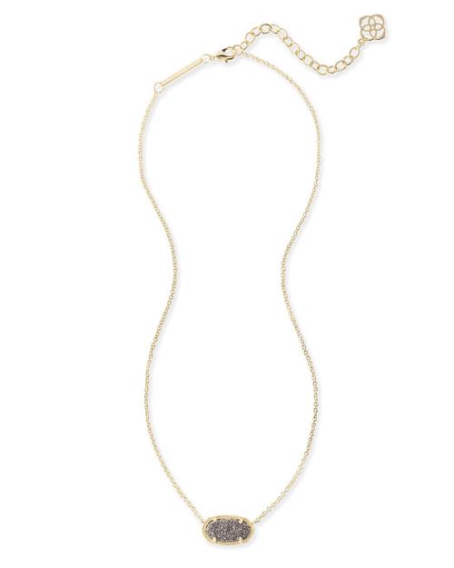 Elisa Gold Pendant Necklace In Platinum Drusy
