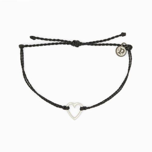 Open Heart Silver Black Bracelet